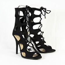 Gladiator Lace up Cut Out Stiletto Heel BLACK Size 8.5