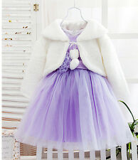 Kids Girls Faux Fur Wedding Cape Bridesmaid Tippet Bolero Wrap Shrug Jackets