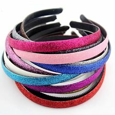 GLITTER sheen Hairband Hairbands 15 Solid color Hair Jewelry Headpiece 1,5 cm