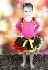 Rhinestone Born To Wear Diamond Hot Pink Top Brown Skirt Baby Girl Outfit NB-8Y