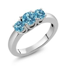 1.16 Ct Round Swiss Blue Topaz 925 Sterling Silver Ring