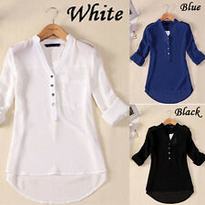 Sexy Womens V-neck Chiffon Long Sleeve Casual Elegant Blouse Loose Tops T-Shirt