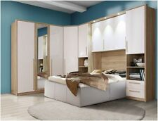 Cologne Overbed Unit Wardrobe Bridge Bedroom Fitment White Gloss Furniture