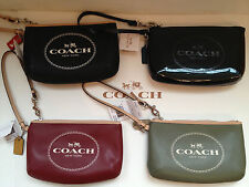 COACH HORSE CARRIAGE LEATHER WRISTLET F 51788 + Coach Box Black Olive Cranberry