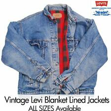 VINTAGE Winter LEVIS  DENIM BLANKET LINED TRUCKER JEAN JACKET  XS S M L XL