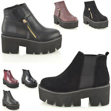 LADIES CHELSEA CHUNKY CLEATED SOLE PLATFORM GOTH PUNK WOMENS ANKLE BOOTS SHOES