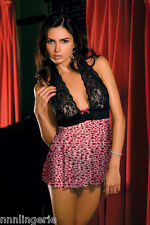 Rene Rofe Lingerie 2 Piece Lace and Mesh Halter Babydoll and G-String Set