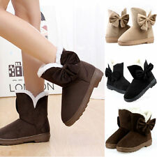 Fashion Winter Warm Women Bowknot Flat Snow Boots Fur Soft Mid-calf Autumn Shoes
