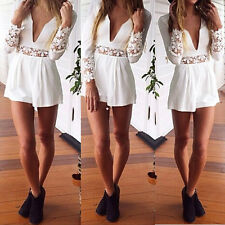 Fashion Women Sexy Deep V Neck Long Sleeve Lace Rompers Jumpsuit Short Pants