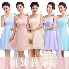 WOMENS Chiffon Wedding Bridesmaid Prom Party Cocktail Dress One Shoulder HOT H