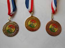 MENS ATHLETICS MEDALS - 50 MM METAL - WITH RD/WHT/BL RIBBON-CHOOSE COLOUR