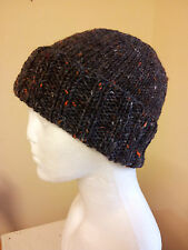Beanie Hat Hand Knitted in Ireland of Aran 100% Donegal Tweed wool