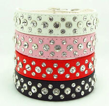 Colorful Pet Dog Bling Rhinestone PU Leather Crystal Puppy Collar XS S M L