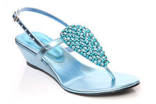 UNZE TENI' LADIES WOMENS JEWELED EVENING  WEDGE SANDALS SIZES UK 3 - 8 TURQUOISE