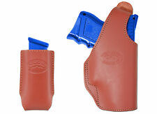 New Barsony Burgundy Leather OWB Holster + Mag Pouch Smith&Wesson Comp 9mm 40 45