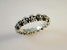 .925 Sterling Silver ETERNITY SKULLS BAND RING Size 6-12 925 NEW 16061