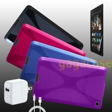 4in1 Amazon Kindle Fire HD 6 Inch Gel Case Cover +Power Adapter+Screen Protector
