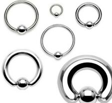 """Surgical Steel Captive Bead Rings CBR 20g - 4g 1/2"""""""
