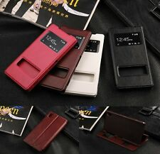 For Sony Xperia Z2 Dual Windows View PU Leather Flip Case Stand Cover Skins