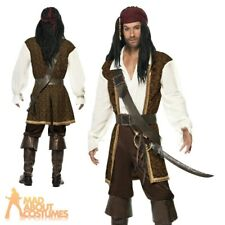 Adult Pirate Costume High Seas Jack Sparrow Mens Fancy Dress Outfit New