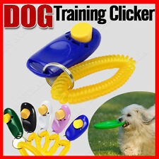 Dog Pet Puppy Click Clicker Training Obedience Trainer Aid Wrist Strap