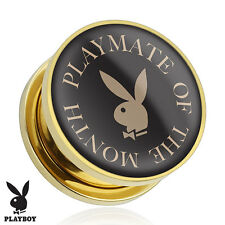 Playmate of The Month Playboy Bunny Logo Print Gold Plated Screw Fit Plugs