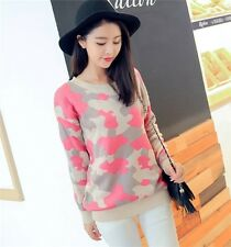 Pink Camo camouflage Knitted Round Neck Girl Women New Sweater Jumper Pullover