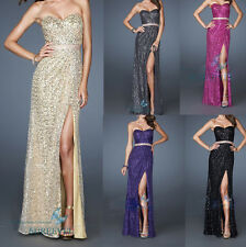 Sequins Long Slit Evening Dresses Party Cocktail Gowns Bridesmaid Prom Dresses