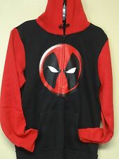 Marvel Mens New Licensed (Deadpool Logo Symbol w/ Printed Hood) Zipper Hoodie