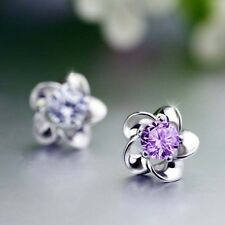 Stylist  Sterling Silver Platinum Plated allergy free crystal stud earrings
