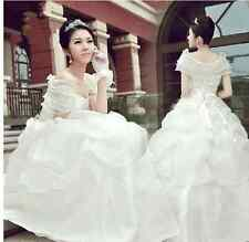 Retro Korean Wedding Dress Wrinkle Bridal Gown Back Waist Flower Front Bowknot