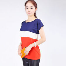 Women Fashion Casual Loose Colors Collision Short Sleeve T-Shirt Tops Blouse GR
