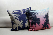 Home Decor Tropical Palm Tree Linen Pillow Case Decorative Sofa Cushion Cover 18