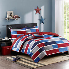 New 3/4 Piece Boys Quilt Coverlet Set Red White & Blue Twin Full/Queen Bedding