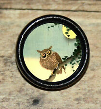 Halloween Asian FULL MOON Brown OWL Altered Art Tie Tack or Ring or Brooch pin