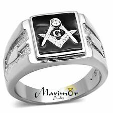 Men's Stainless Steel Tusk 316 Crystal Masonic Lodge Freemason Ring Band Sz 8-13