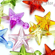 Acrylic Faceted Star Charms, Mix Colors