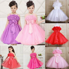 5 Colors NEW Kids Girls Flower Tulle Bowknot Party Wedding Dress Formal Pageant