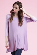 USA Women Tunic Top Boat Neck 3/4 Sleeve Loose Fit Knit Dress S M L XL Plus