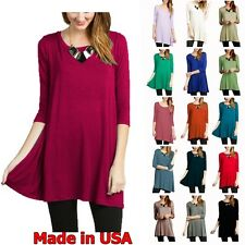 USA Women Boat Neck Tunic Top 3/4 Sleeve Long Knit Dress Loose Fit S M L XL Plus
