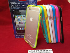 TRANSPARENT CLEAR SILICONE BUMPER STYLE CASE & SCREEN PROTECTOR FOR IPHONE 6S 6