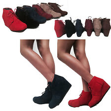 Women's Wedge High Heel Booties Lace Up Round Toe Ankle Boots Casual Shoes