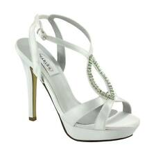 "Hope Dyeable White Satin Rhinestone Prom Bridal 4"" High Heel Wedding Shoe"