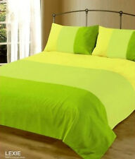 MODERN 3 TONE LIME GREEN SOFT MICROFIBRE PLAIN DUVET COVER BED SET