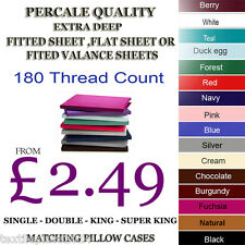 Fitted,Flat,Fitted Valance Sheets Percale Quality All Sizes