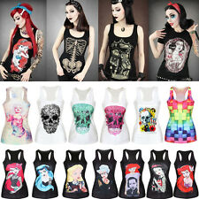 Hot! Women Graphic Print Singlet Gothic Racerback Tank Top Vest T-Shirt Clubwear