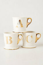 Anthropologie Limited Edition Gold Monogram Mug K O H U X C Y D L E I S F G