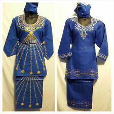 Women African Skirt Suit Attire Outfit Boho kaftan style Blue Gold  Free Size