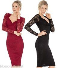 Sweetheart Neckline Lace Long Sleeve Fitted Wiggle Cocktail Party Evening Dress