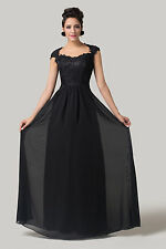 LONG Mother of the Bride /Groom Wedding Gown Prom Evening Party Black Prom Dress